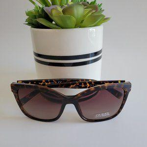 Guess Womens  Dark Havana Brown Gradient Lens Designer Sunglasses NEW